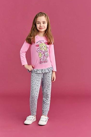 Barbie Barbie Lisanslı Kız Çocuk Pijama Takımı Cam Göbeği Pembe